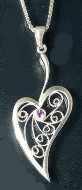 Filigree heart pendant with amethyst